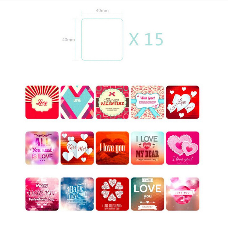 38 Pcsbag Love Heart Print Memo Pads Scrapbook Paper Stickers