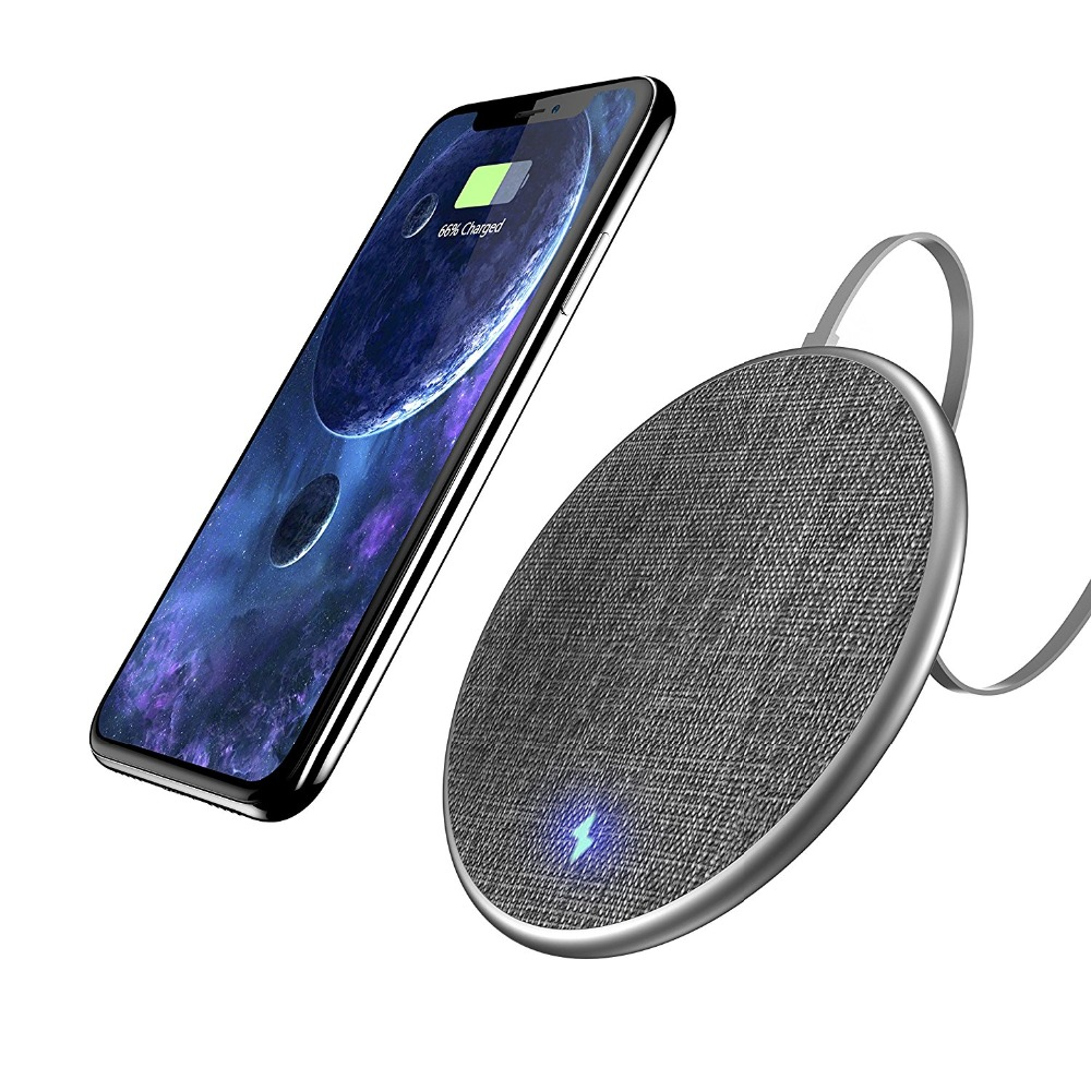 Fast Wireless Charging Pad, wofalo 10W Jean Fabric Wireless Charger for iPhone 8/ 8 Plus/ X and Samsung Galaxy Note8/ Note5/ S8/