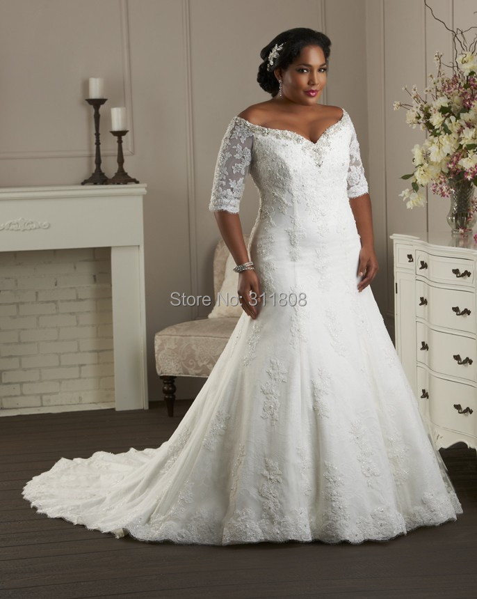 57501413364 Off Shoulder V Neck Trumpet Half Sleeve Lace Plus Size Wedding ...