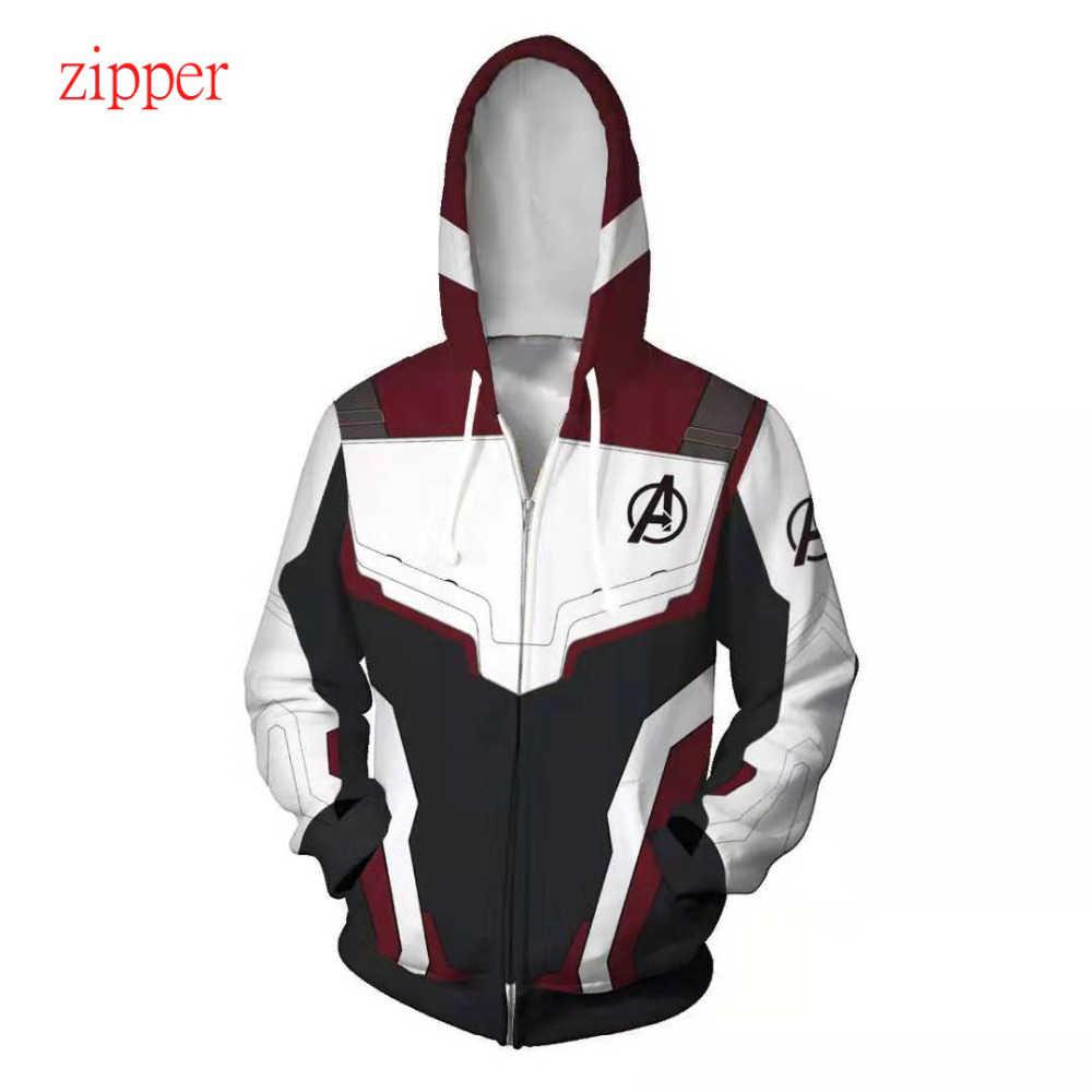 Marvel o super-herói 4 endgame quantum realm cosplay traje hoodies com capuz com zíper final jogo moletom jaqueta
