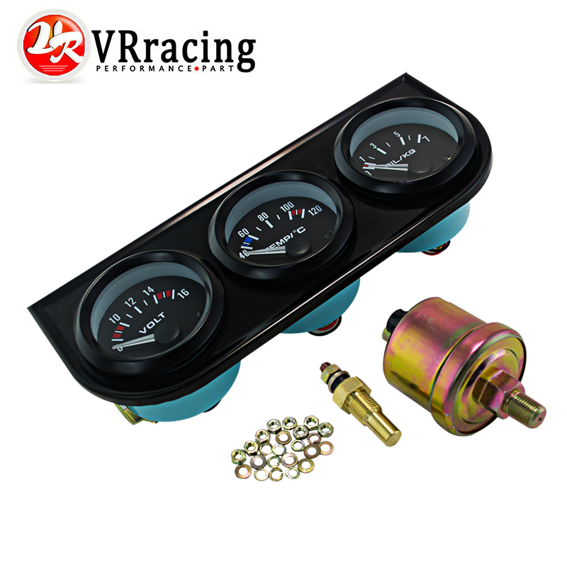 VR RACING - 52mm Triple gauge 3 in 1 (Oil press Gauge+Water Temp Gauge+Volt Meter) Sensor 52mm Auto Gauge Car Meter VR-TAG02
