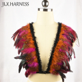 Colour mixture feather shoulder piece / feather epaulet shrug / feather harness with pointy shoulders / Edgy fashion shrug O0301