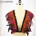 Mezcla de color de plumas de hombro piezas/epaulet shrug chaqueta de plumas/plumas arnés con puntiagudas hombros/encogimiento de hombros de moda Vanguardista O0301