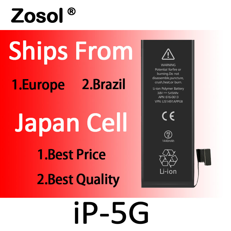 10pcs/lot Origin Japan Cell Battery For iPhone 5 iPhone5 Replacement Batterie Internal Bateria For iPhone 5G