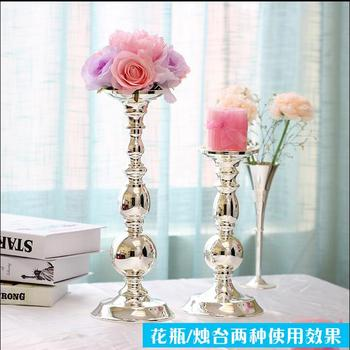 European silver plated metal tabletop vase decoration home Decorative Flowers tall vases for wedding metal flower vases  HP044