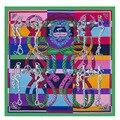 2016 de Lujo de la Marca 100% Bufanda de Seda de la Tela Cruzada Mujer Knight Montar Cuello Wraps Echarpe Cuadrado Hembra Tamaño Grande Del Mantón Del Hijab Pañuelo