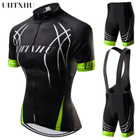 Uhtxhu Women Cycling Set Summer Mountain Bike Clothing MTB Bicycle Wear Clothes Maillot Ropa Ciclismo Cycling Jersey Sets