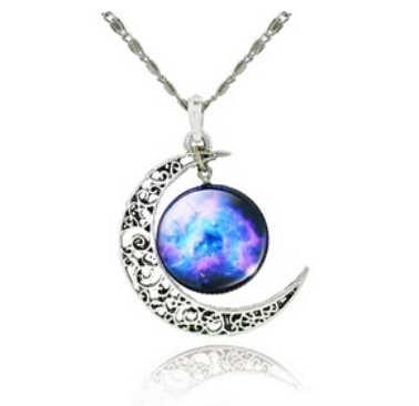 高品質中空ムーンガラス銀河声明ペンダントネックレスシルバーチェーンジュエリーcollares友人女性の最高の贈り物