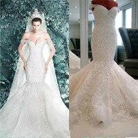 Real Photos 2016 Long Mermaid Wedding Dresses Lace Sweetheart Elegant Vestidos De Noiva Princess Bridal Gowns