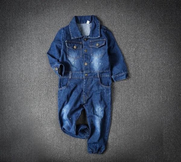 Image 2 - Children Boys Overalls Baby Girls Denim Jeans Bodysuit Kids Childrens Clothing Toddler Girl Navy Blue Spring Autumn PantsOveralls   -