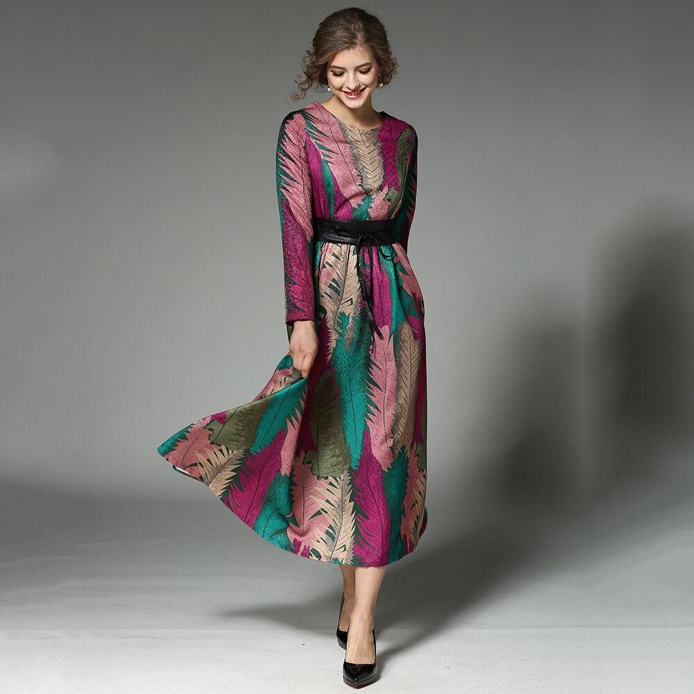 Taille O Femme D'automne Ceintures 9336 Imprimé De Manches Longues Robes Grande Vintage N618 Femmes Festa Robe cou Dames YymIf67gvb