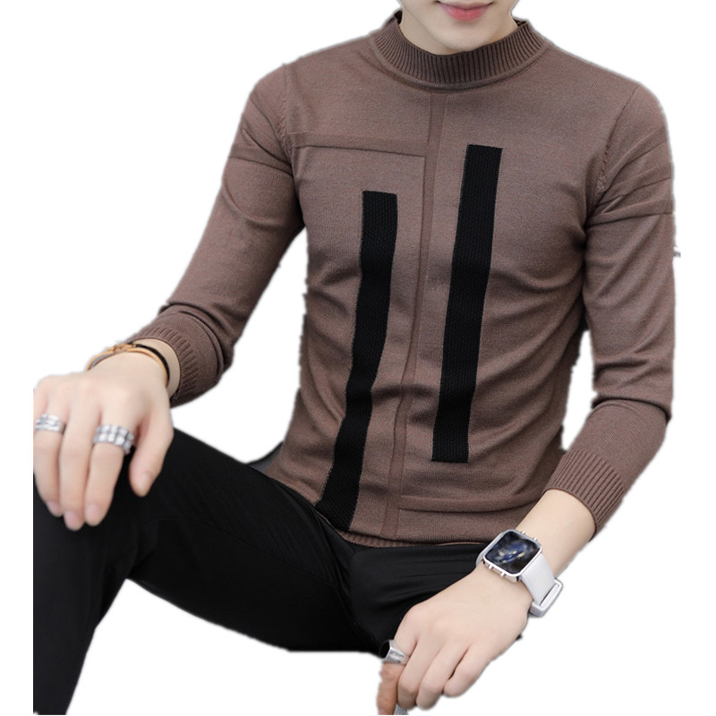 Winter Thick Warm Cashmere Sweater Men Turtleneck Irregular Stripe Sweaters Slim Fit Pullover Men Classic Wool Knitwear Pull