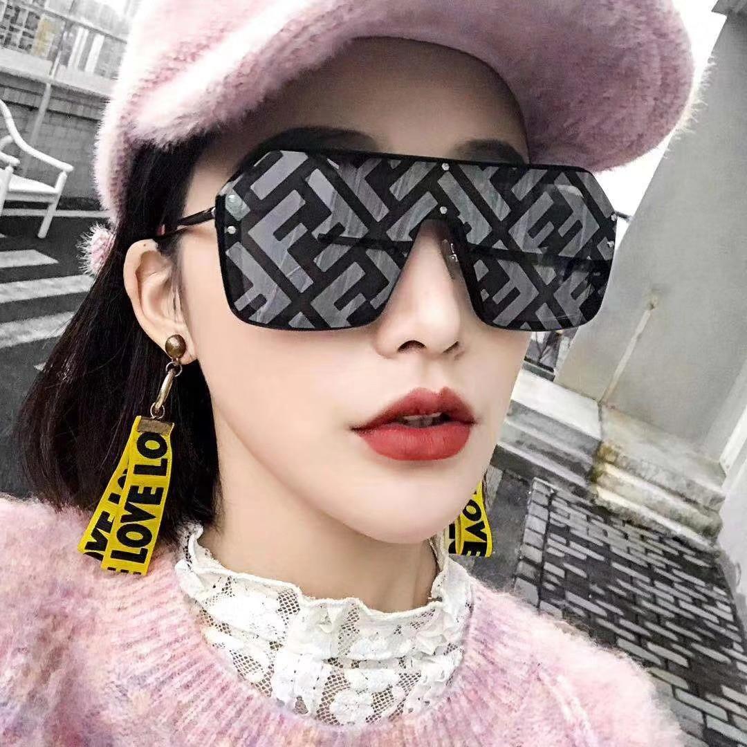2019 New Letter Mirror One-piece Sunglasses Women Men Trendy Sunglasses Ladies Square Flat Top Coating Eyeglasses