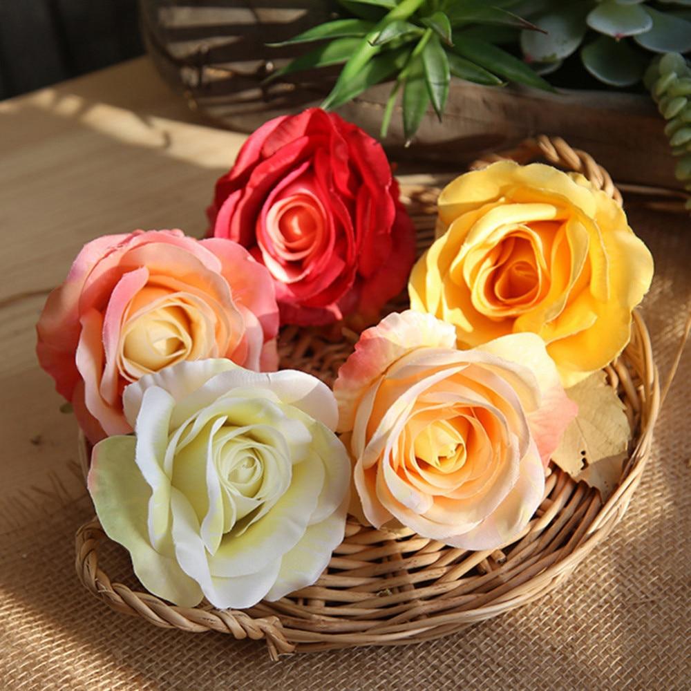 5 Colors Artificial Rose Flowers Head Wedding Bride Bouquet DIY For Home Garden Decor Flowers Lover