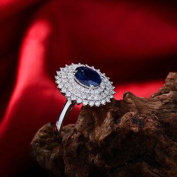Zafiro Azul De Sri Lanka Anillo De Compromiso De Diamante Corte Ovalado 6x8mm 18K Oro Blanco Para Las Mujeres Boda Gemas Auténticas, Joyería WU261