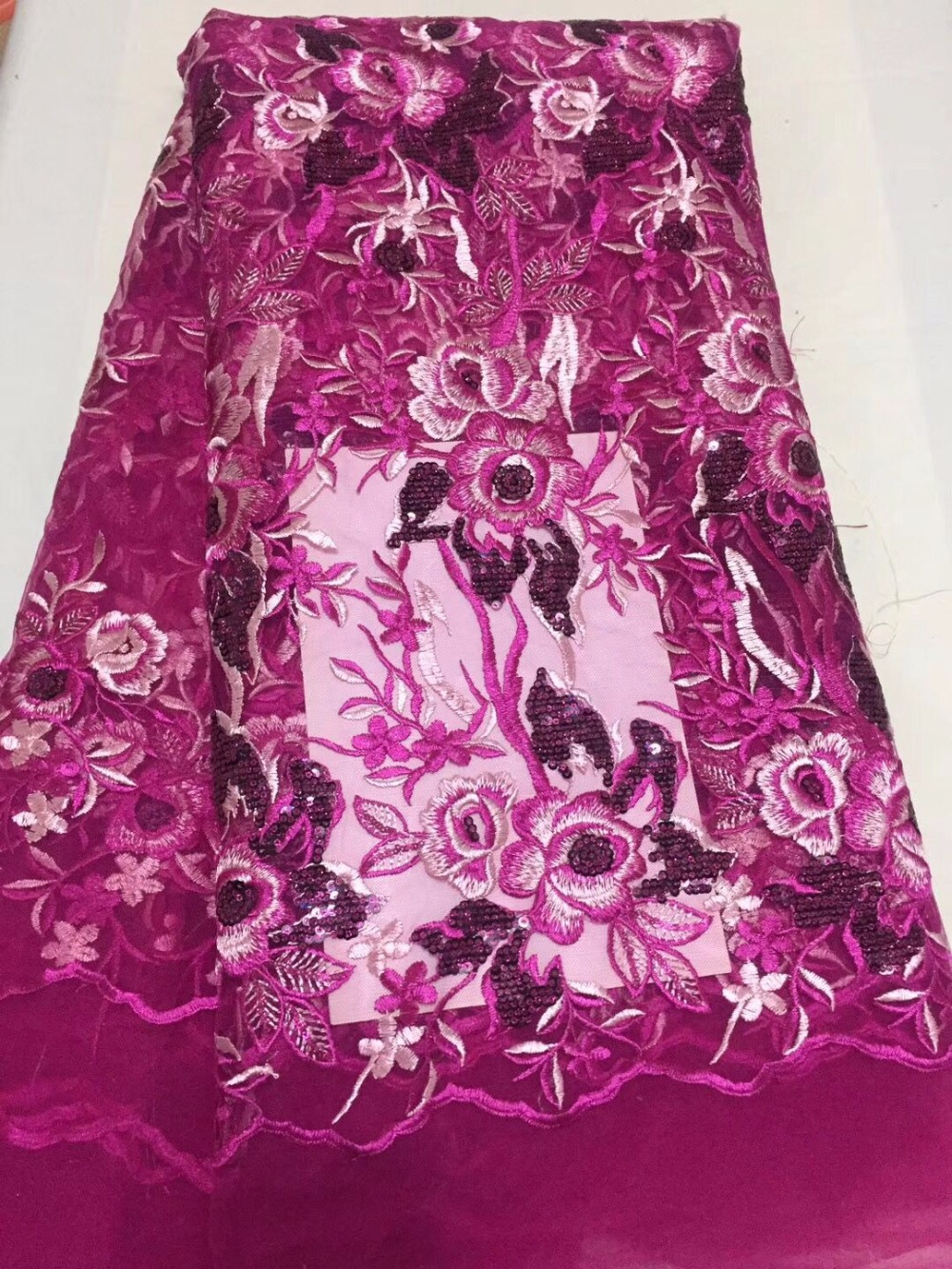 Pink color High Quality Organza Lace Fabric 2017 African ...