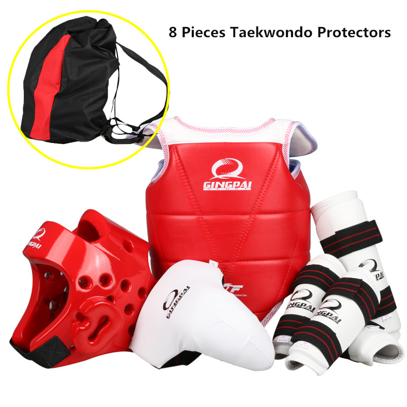 8 pieces one set taekwondo protectors full set child adult Helmet Chest head protector Armguards Shank protector Crotch 2018 new taekwondo chest protector target boxing protector wushu sanda training exercise chest thai protector free shipping
