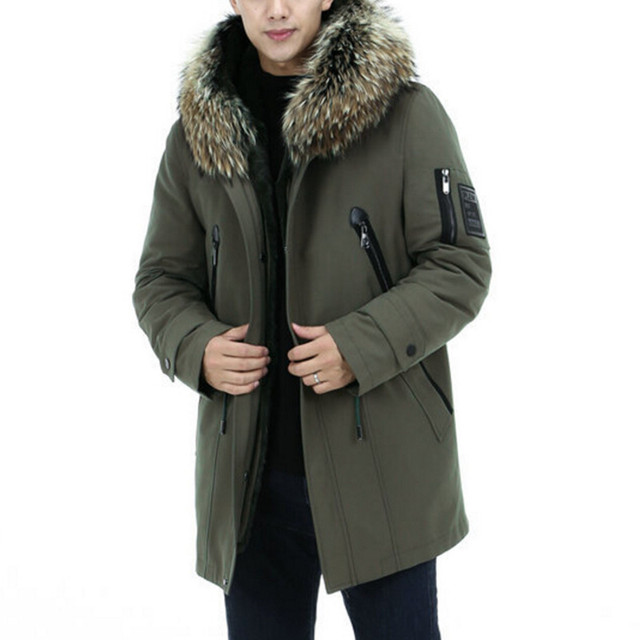 Best Offers Real Fur Winter Coat Long Parka Men Military Tactical Jacket Natural Raccoon Hooded Thick Fleece Warm Army Green Casual Outwear