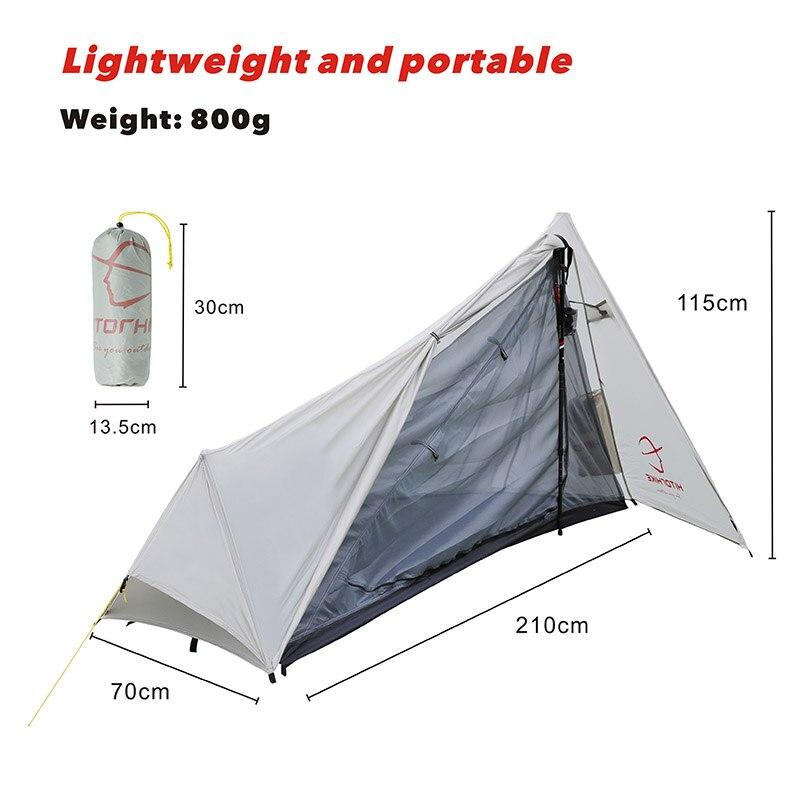 Tente de Camping ultralégère hitortrekking 1 personne Oudoor 3 saisons tente professionnelle sans fil 15D Silnylon 800G tente facile mise en place par poteau