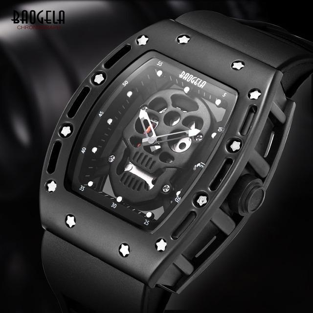 Mens Fashion Esqueleto Luminosa À Prova D' Água Relógios de Quartzo com Estrelas de Silicone Strap Militar Relógio de Pulso para Homem em Ouro Rosa