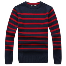 RICHARDROGER   2017 New Autumn Fashion Brand Casual Sweater O-Neck Striped Slim Fit Knitting Mens Sweaters And  08