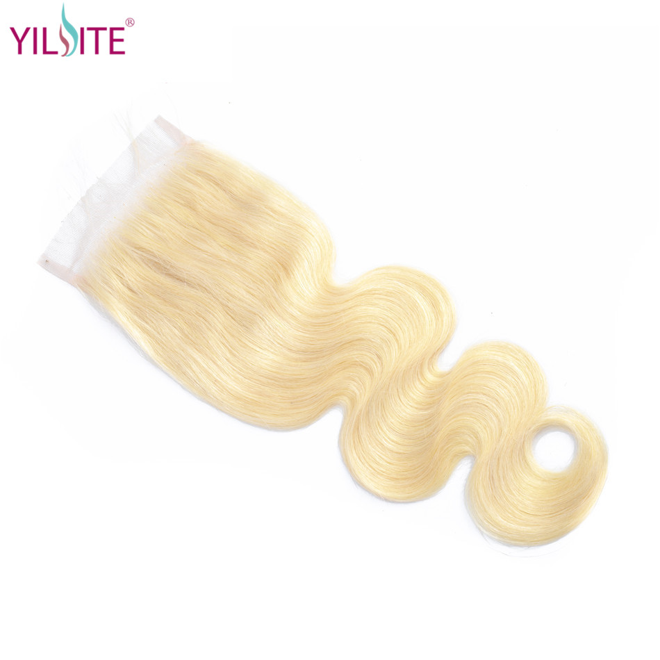 YILITE Blonde #613 Indian Body Wave Human Hair Closure 4*4 Free/middle/three Part Non Remy Swiss Lace 1b/613 8-22 Inch No Smell image