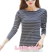 Laipelar Famous Brand Tshirt 2018 Autumn Winter T-shirts For Women Classic Stirped Cotton T Shirt Woman Plus Size Female T-shirt
