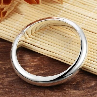 Pur 999 bracelet en argent Sterling brillant demi rond ouvert bracelet pour dame 55-60mmDIAPur 999 bracelet en argent Sterling brillant demi rond ouvert bracelet pour dame 55-60mmDIA
