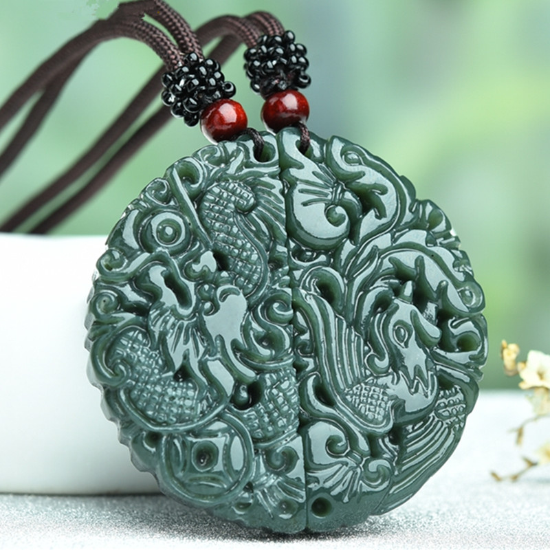100% Natural Green HETIAN Jade Pendant Carved Chinese Dragon Phoenix Pendant Necklace Women Men Lover's Jewelry Free Rope