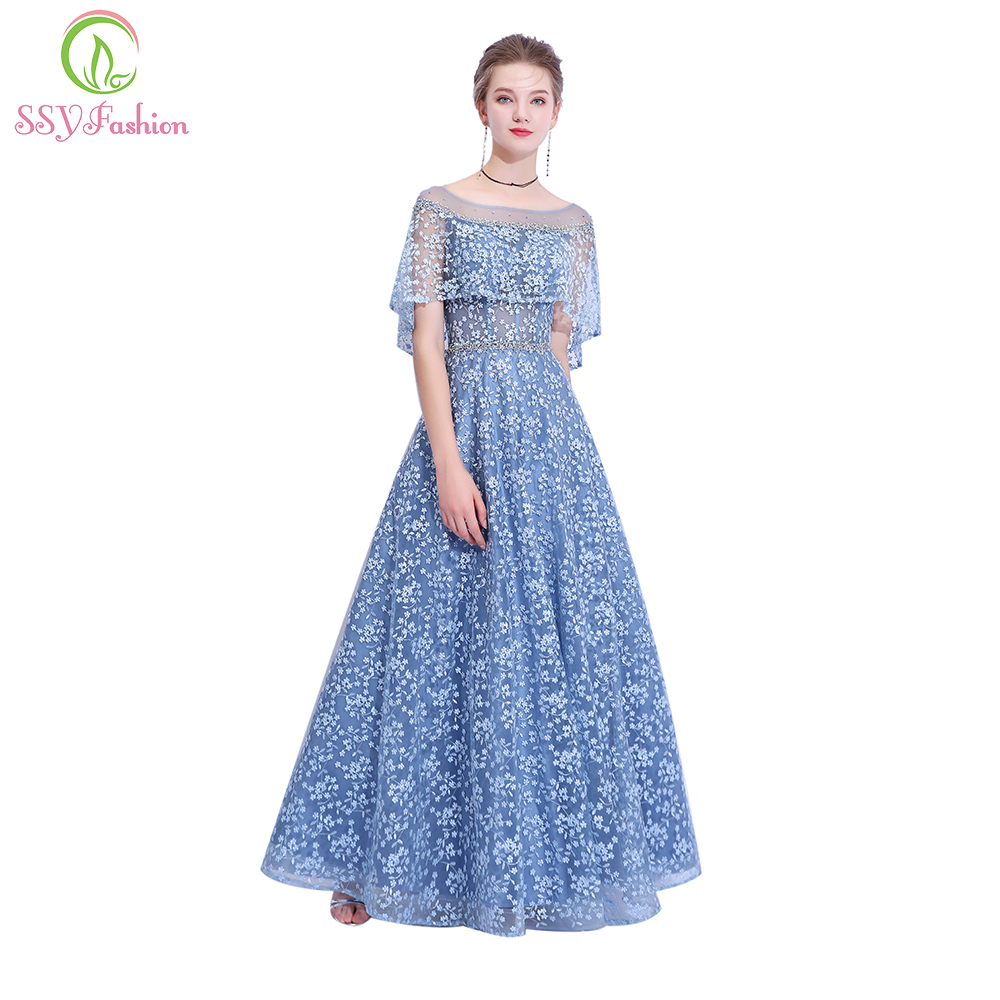 SSYFashion New Banquet Elegant Grey Blue Lace Evening Dress Embroidery Beading Floor length Prom Party Gown