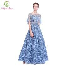 59811b7105 SSYFashion nuevo banquete elegante gris azul encaje vestido de noche  bordado con cuentas hasta el suelo vestido de fiesta de gra.