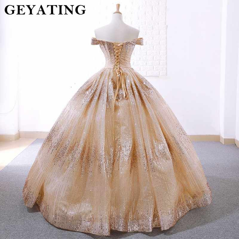 Sparkly Champagne Ball Gown Gold Wedding Dresses 2019 Bling Off The Shoulder Corset Wedding Gowns Vestido De Novia Real Pictures