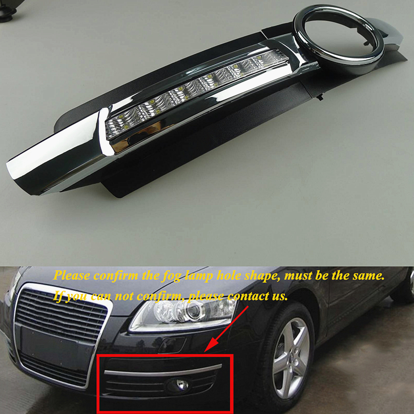 car styling 2pcs For AUDI A6 C6 2005 2008 LED DRL Daytime Running Lights Daylight yellow