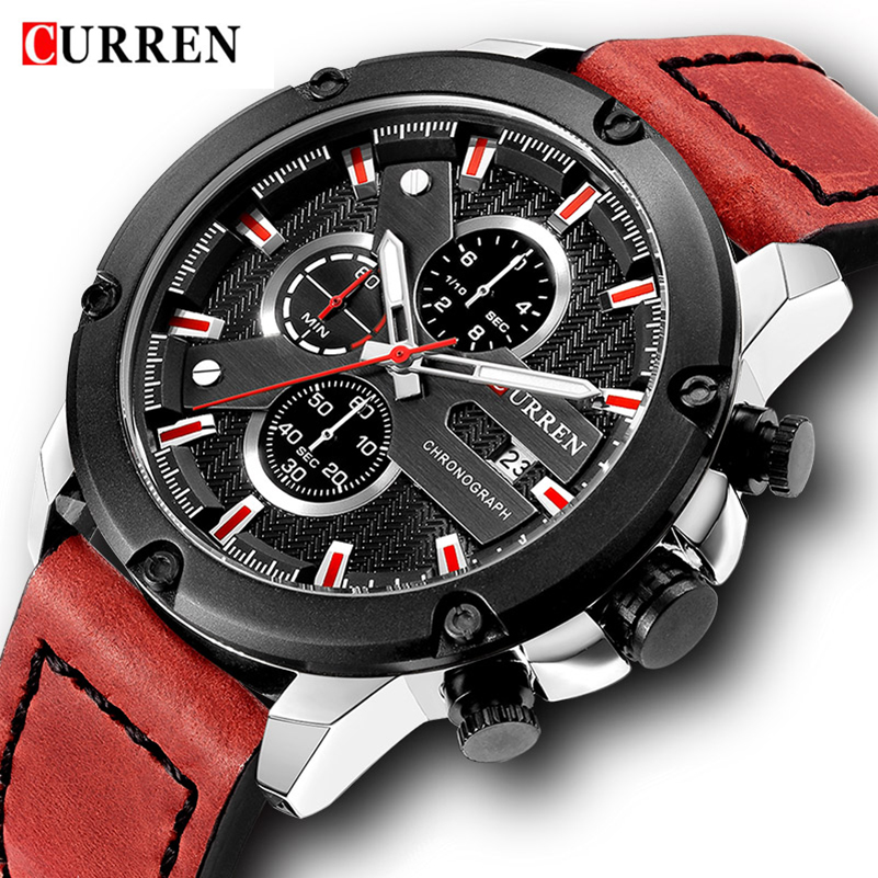 Curren Watch Military Watches Men Brand Quartz Army Sport Chronograph Waterproof Watches Men Leather Wristwatch Watch Male Clock hot boots women sexy black thigh high boots peep toe soft leather back zip high heels over the knee boots gladiator sandal boots