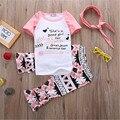 Ropa de los bebés caen niñas floral del partido trajes de bebé girls boutique ropa de manga Corta con volados pant con accesorios
