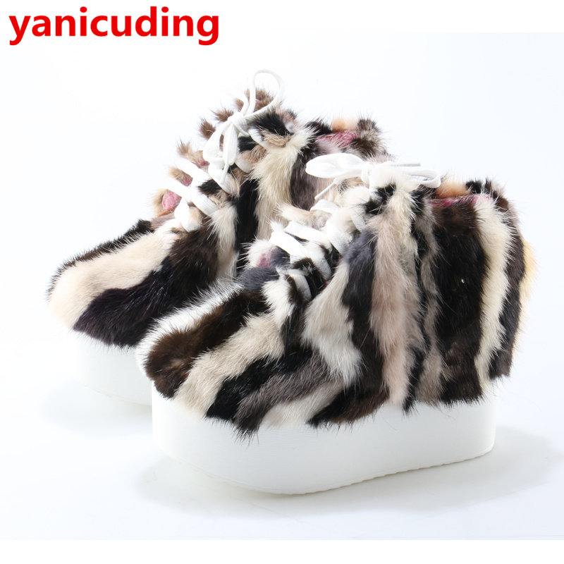 Colorful Fur Women Ankle Boots Winter Warm Short Booties Platform Design Lace Up Shoes High Top Height Increasing Zapatos Mujer veowalk winter warm fur women short ankle boots cotton embroidered ladies casual canvas 5cm heels wedge platform booties shoes