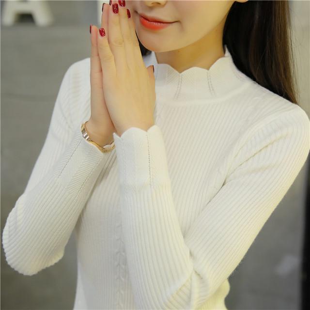 6775 de Corea adelgazan el vestido de encaje Camisa de Cuello Alto de punto suéter 30 semi
