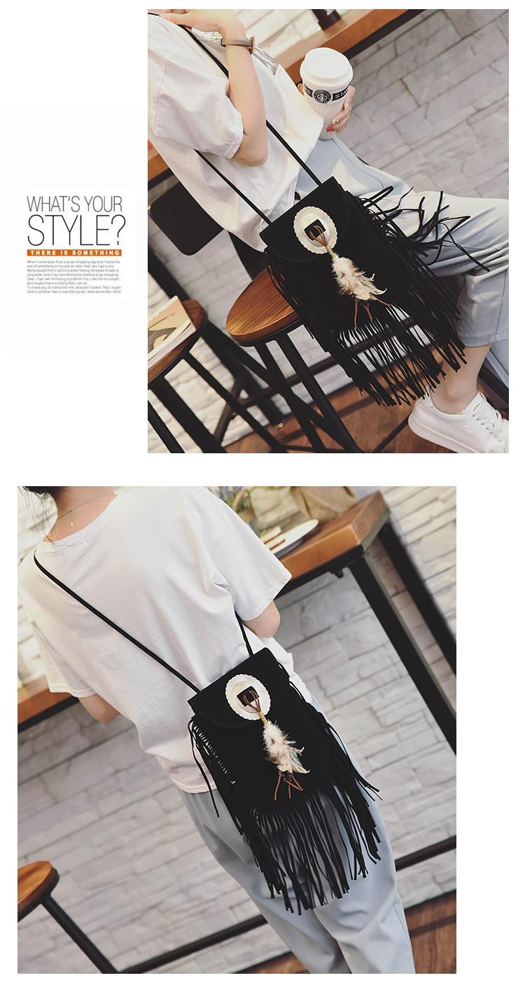 Hippie Suede Fringe Tassel Messenger Bag Women Hobo Shoulder Bags Crossbody Handbag (24)