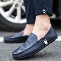 LIN REY Nueva Ocasionales de Los Hombres Zapatos Sin Cordones Punta Redonda PU Suave Sólido Del Tobillo Solos Zapatos de Masaje Simple Del Todo-Fósforo Cómodo zapatos