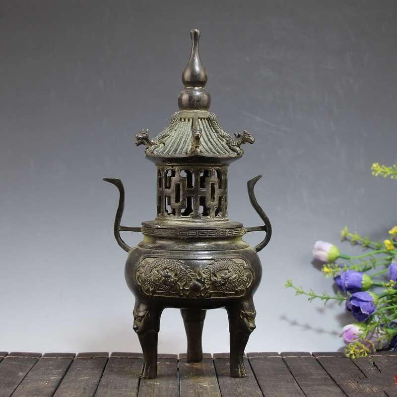 Antique chinois Bronze ornements Triangle tour four bois de santal Fumigation four Temples et salles bouddhistes