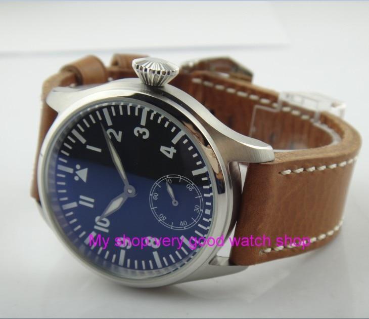 47mm parnis big black dial Asian 6498 17 jewels Mechanical Hand Wind movement men watches blue Luminous Mechanical watches R23A