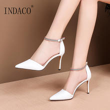 Sandals Women Summer Shoes Footwear Pointed Toe High Heel White Black Heels