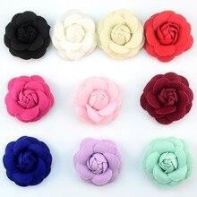 120 pçs/lote 10 Cor 7 cm Brotamento Estéreo Repolho Rosas Flores de Feltro Decoração de Casamento Roupas Sapatos Acessórios de Vestuário TH219