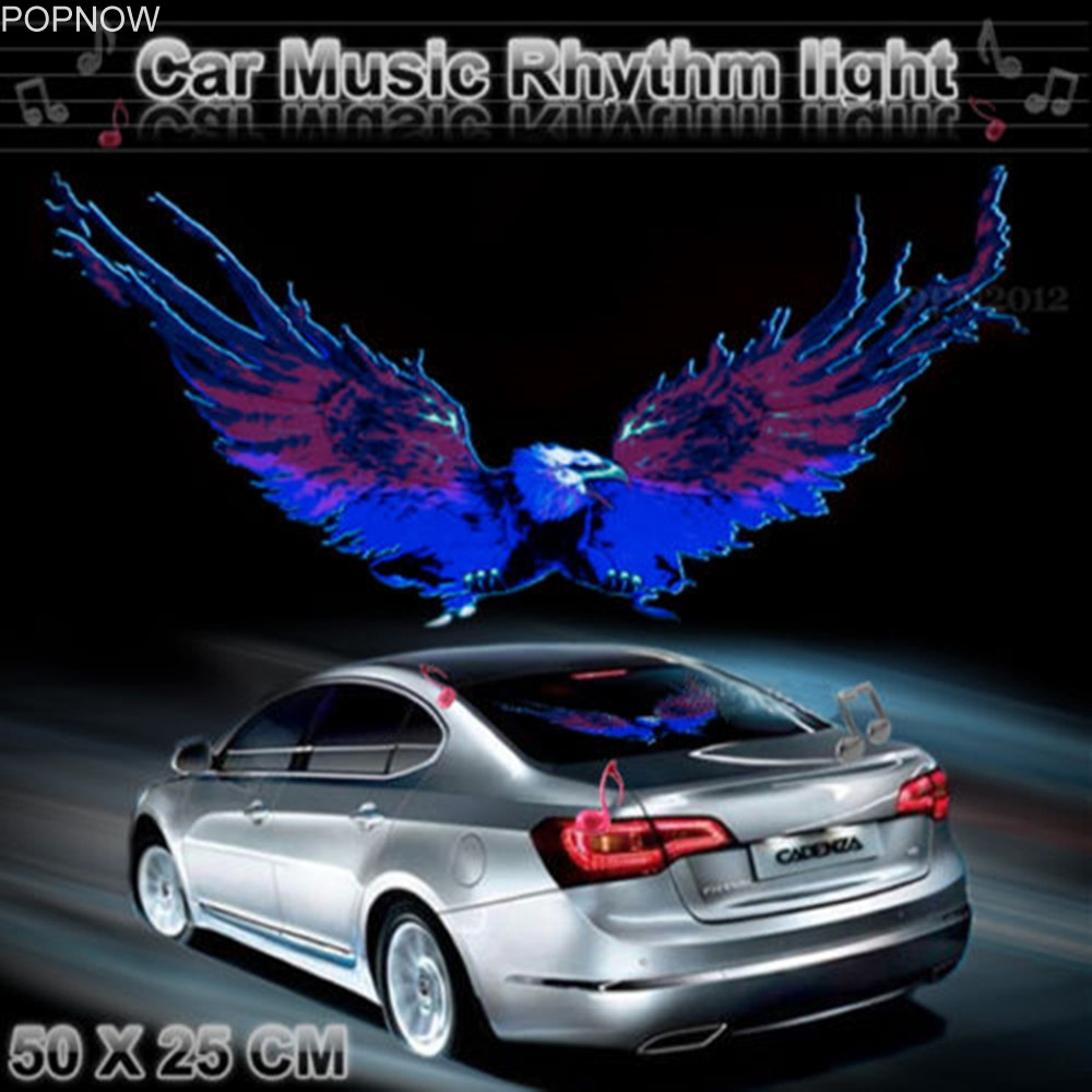 50x25cm Car Sticker Music Rhythm LED Flash Light Lamp Voice-activated Equalizer Stickers Auto Vehicle LED Car Styling Stickers car light 1pcs 2pcs 45x11cm car music rhythm led flash light lamp sound activated equalizer car light panel lamp 1219