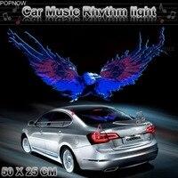 Popnow 50x25 cm Eagle Voertuig Achter Windshiel Sticker Muziek Equalizer Muziek Rhythm LED Flitslicht Lamp #2294