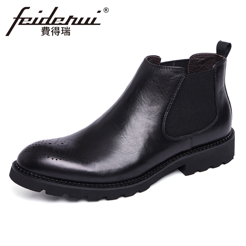 New British Genuine Leather Men's Carved Chelsea Ankle Boots Round Toe Handmade Platform Cowboy Man Martin Riding Shoes YMX464 new summer designer man handmade breathable chelsea shoes male genuine leather men s round toe cowboy riding ankle boots ss347