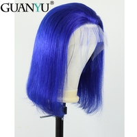 Guanyu 13*4 Pre plucked Blue Short Bob Brazilian Remy Human Hair Lace Front Wigs Straight 150% Density Free Part For Black Women