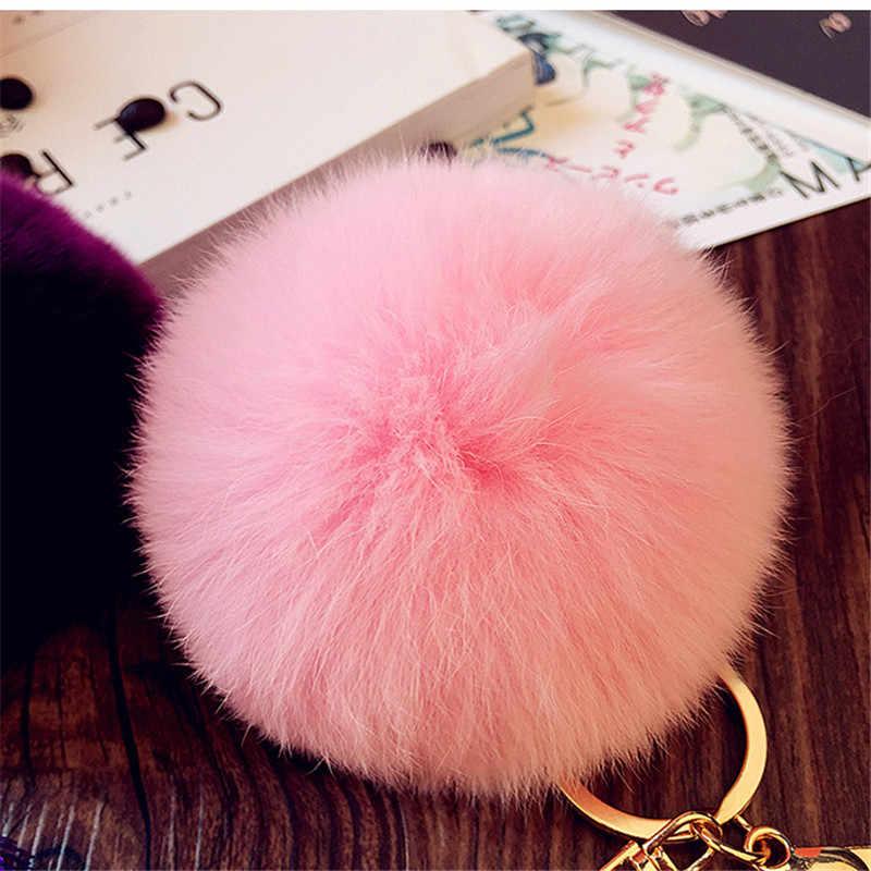 Moda Feminina Rabbit Fur Cony Cabelo Bola Pompom Chaveiro Encantos Três Vezes Borla Bolsa Chaveiro Chave Pingente Anel Jóias