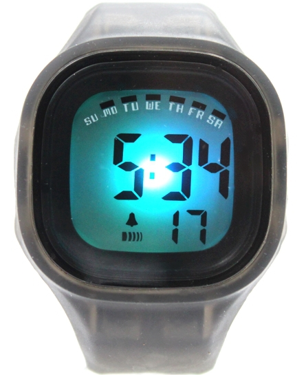 Chronograph BackLight Black Bezel Silicone Gray Band Unisex Digital Watch DW358C