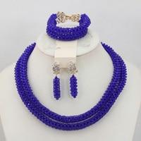 Splendid Royal Blue African Wedding Beads Jewelry Handmade Nigerian Pendant Necklace Earrings Set Birthday Gift Free Ship QW645